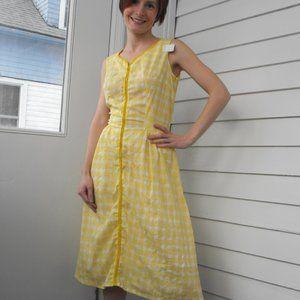 Yellow Plaid Dress Vintage 60s Sleeveless Summer M
